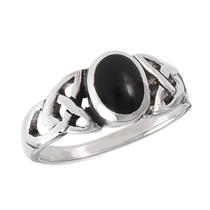Silver Celtic Triquetra / Trinity Knot Ring Black Onyx