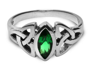 Silver Celtic Triquetra / Trinity Knot Ring Emerald Green CZ