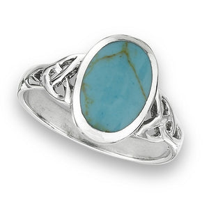 Silver Celtic Triquetra / Trinity Knot Ring Turquoise