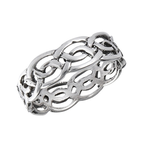 Silver Celtic Weave of Eternity Ring