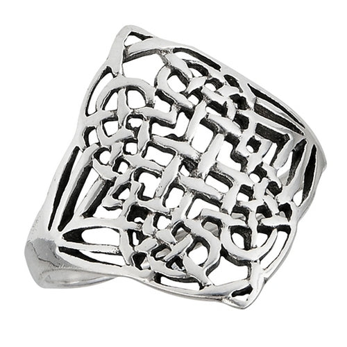 Large Silver Celtic Weave Ring