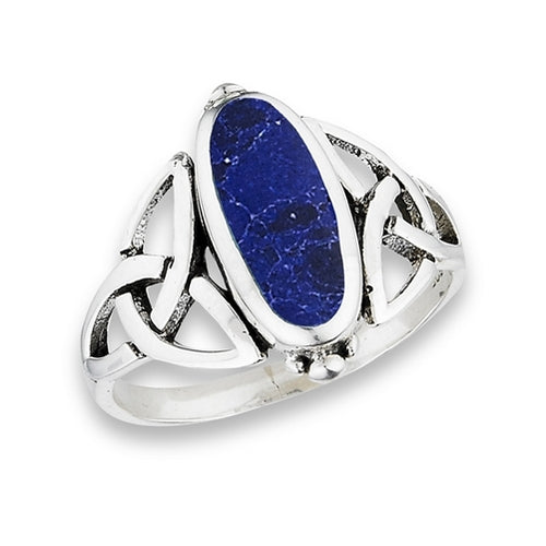Silver Celtic Trinity / Triquetra Knot Ring Sodalite