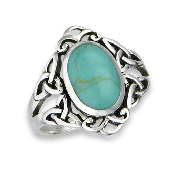 Silver Celtic Trinity / Triquetra Knot Ring Turquoise