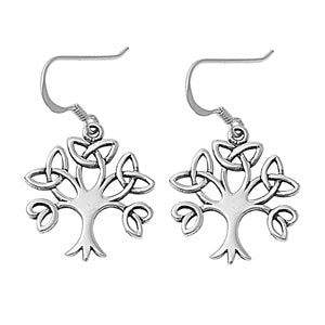 925 Sterling Silver Celtic Tree of Life Trinity Knot Dangle Earrings