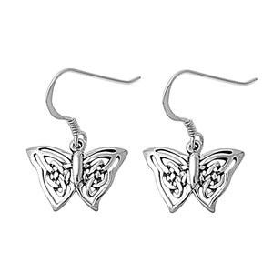 Handcast 925 Sterling Silver Celtic Butterfly Knot Dangle Earrings