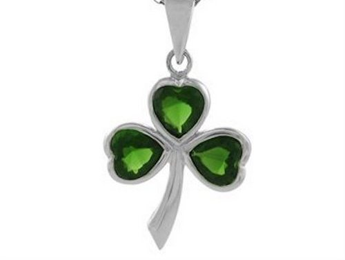 Sterling Silver Irish Shamrock Pendant w/ Emerald Green CZ + Free Chain