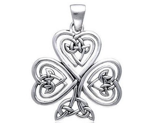 Large Sterling Silver Irish Shamrock 3-Leaf Clover Pendant + Free Chain