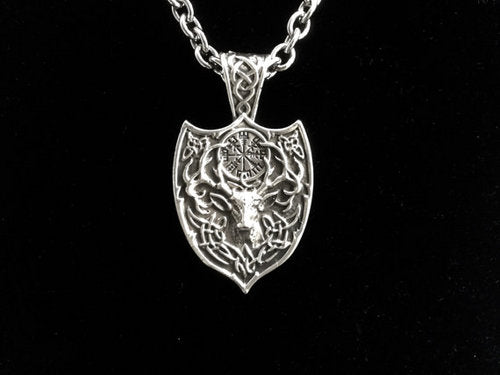 Handcast 925 Sterling Silver Celtic Stag Deer Pendant + Free Chain