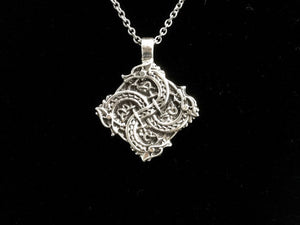 Handcast 925 Sterling Silver Entwined Celtic Dragon Warrior Necklace