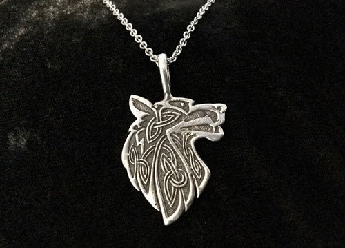 925 Sterling Silver Double Sided Celtic Wolf Necklace