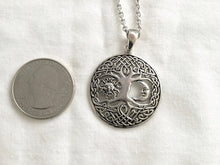 Handcast 925 Sterling Silver Tree of Life Sun Moon Necklace