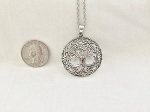 Handcast 925 Sterling Silver Celtic Tree of Life Necklace