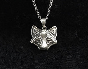 Handcast 925 Sterling Silver Irish Celtic Wolf Pendant + Free Chain