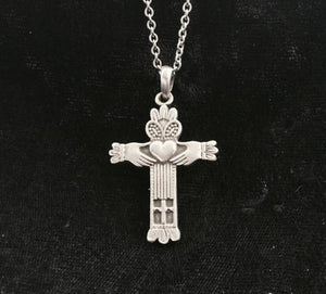 Large Handcast 925 Sterling Silver Irish Claddagh Cross Pendant + Free Chain