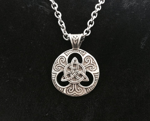 Large Handcast 925 Sterling Silver Celtic Trinity Knot Pendant + Free Chain