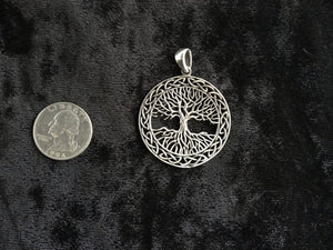 Large 925 Sterling Silver Handcast Tree of Life Pendant + Free Chain