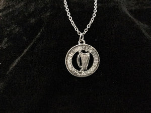 Handcast 925 Sterling Silver Irish Harp Necklace