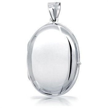Massive Sterling Silver Oval Photo Locket + Free Chain