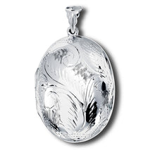 Massive Sterling Silver Oval Photo Locket Pendant + Free Chain