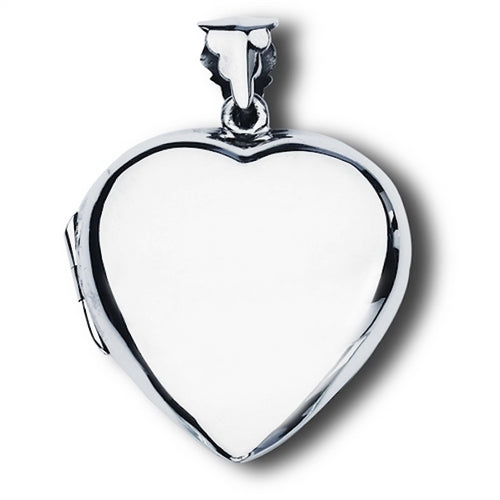 Large Sterling Silver Heart Photo Locket Pendant + Free Chain
