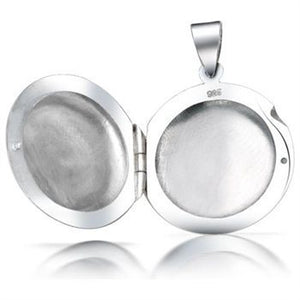 Round Sterling Silver Photo Locket Pendant + Free Chain