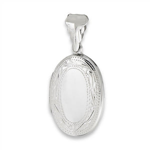 Sterling Silver Etched Oval Photo Locket Pendant + Free Chain