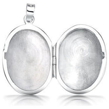 Sterling Silver Oval Photo Locket + Free Chain