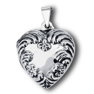 Sterling Silver Embossed Heart Photo Locket Pendant + Free Chain