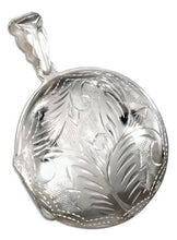 Sterling Silver Puffed Etched Round Locket Pendant + Free Chain