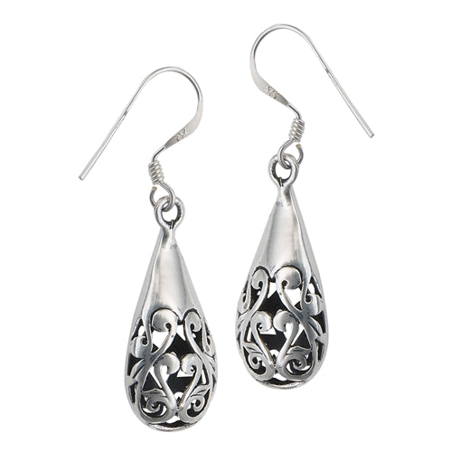 Large 925 Sterling Silver  Victorian Filigree Drop Dangle Earrings