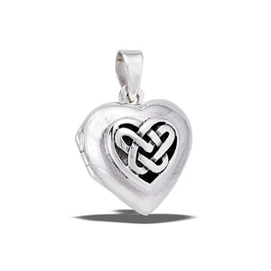 Sterling Silver Heart Photo Locket Pendant + Free Chain