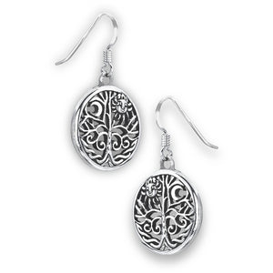 925 Sterling Silver Celtic Tree of Life Sun Moon Dangle Earrings