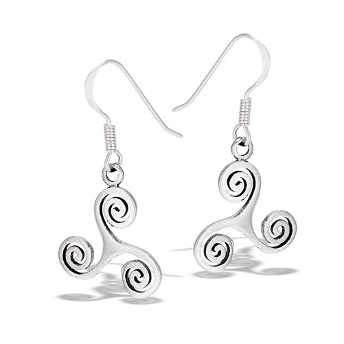Handcast 925 Sterling Silver Celtic Triskele Triple Spiral Triskelion Dangle Earrings