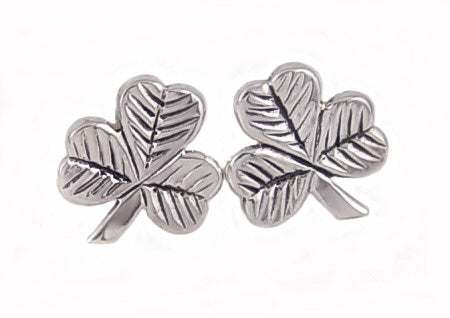 Sterling Silver Irish Lucky Shamrock Stud Post Earrings