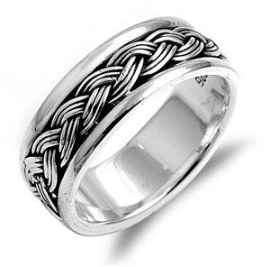 Silver Unisex Celtic Eternity Weave Spinner Ring