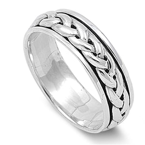 Silver Unisex Celtic Braided Weave Spinner Ring