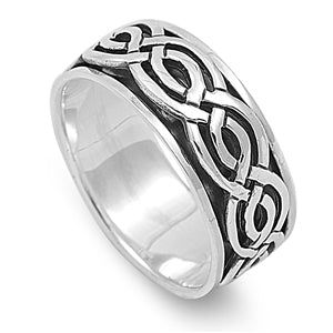 Silver Unisex Celtic Weave Spinner Ring