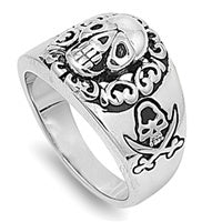 316L Surgical Stainless Steel Skull and Crossbones Pirate Ring