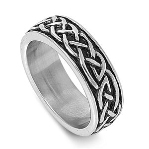 316L Surgical Stainless Steel Celtic Eternity Weave Band