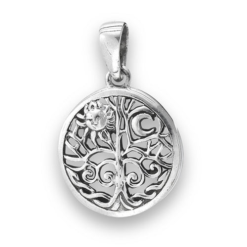 Sterling Silver Tree of Life Sun / Moon Pendant + Free Chain