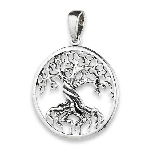 Sterling Silver Tree of Life Pendant + Free Chain