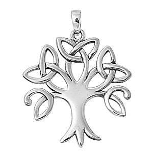 Sterling Silver Celtic Trinity Tree of Life Pendant + Free Chain