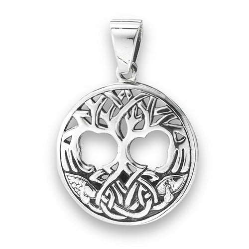 Sterling Silver Celtic Tree of Life Pendant + Free Chain