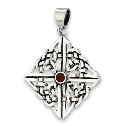 Silver Celtic Knotwork Pendant w/ Red Carnelian + Free Chain
