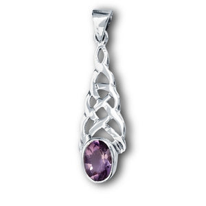 Silver Celtic Knot Pendant w/ Amethyst CZ + Free Chain