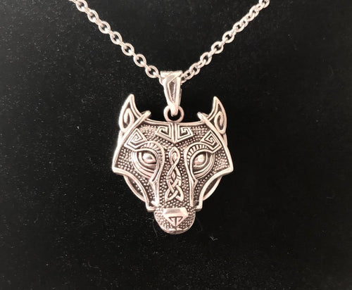 Unique Handcast 925 Sterling Silver Celtic Viking Wolf Pendant + Free Chain