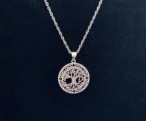 Handcast 925 Sterling Silver Irish Celtic Tree of Life Pendant + Free Chain Necklace