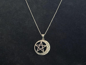 Handcast 925 Sterling Silver Celtic Crescent Moon Pentacle Pendant + Free Chain