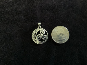 Handcast 925 Sterling Silver Celtic Triskele Triple Spiral Triskelion Crescent Moon Pendant + Free Chain