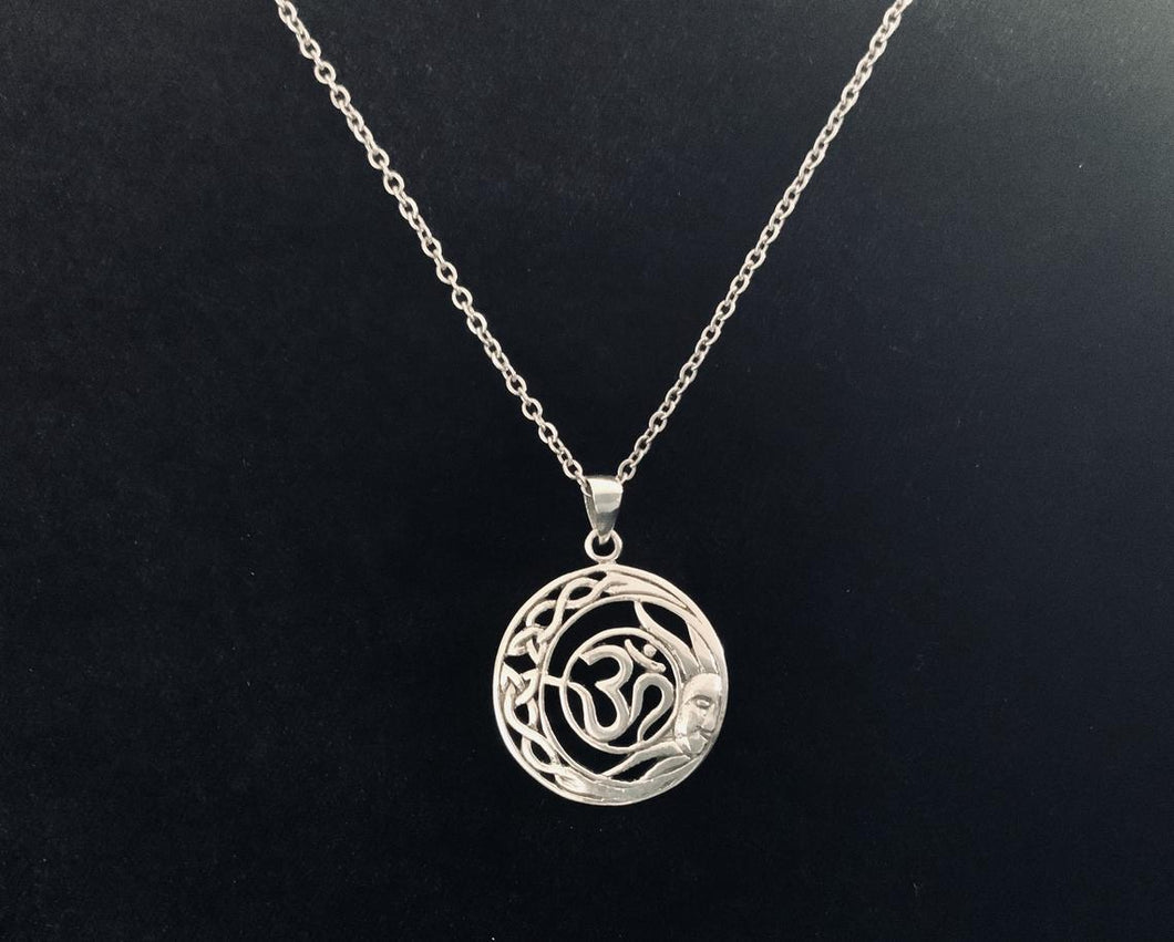 Handcast 925 Sterling Silver Celtic Crescent Moon Sun Om Pendant + Free Chain